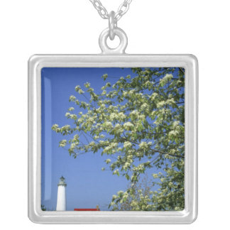 USA, Michigan, East Tawas. Tawas Lighthouse with Silver Plated Necklace