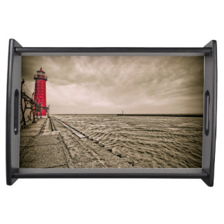 USA, Michigan, Grand Haven Lighthouse Serving Tray