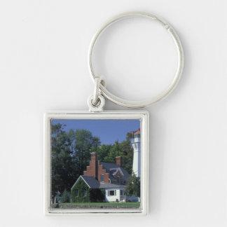 USA, Michigan, Lake Huron. Port Sanilac Silver-Colored Square Key Ring