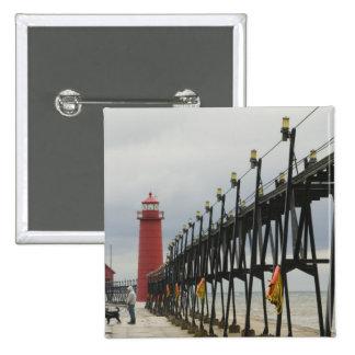 USA, Michigan, Lake Michigan Shore, Grand Haven: 15 Cm Square Badge