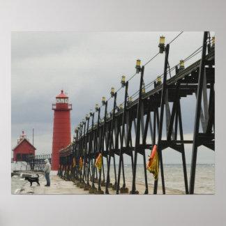 USA, Michigan, Lake Michigan Shore, Grand Haven: Poster