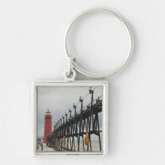 USA, Michigan, Lake Michigan Shore, Grand Haven: Silver-Colored Square Key Ring
