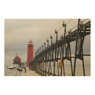 USA, Michigan, Lake Michigan Shore, Grand Haven: Wood Print