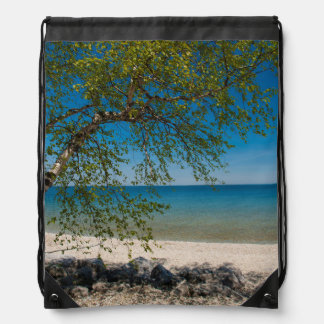 USA, Michigan. Mackinac Island Rocky Beach Drawstring Bag