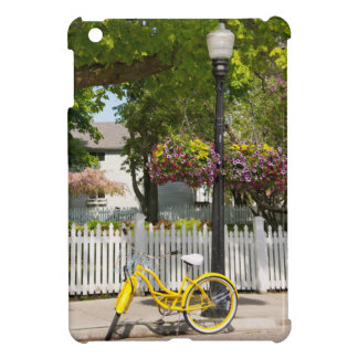 USA, Michigan, Mackinac Island. Yellow Bike Case For The iPad Mini