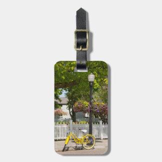 USA, Michigan, Mackinac Island. Yellow Bike Luggage Tag
