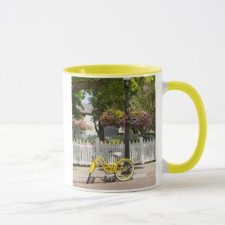 USA, Michigan, Mackinac Island. Yellow Bike Mug