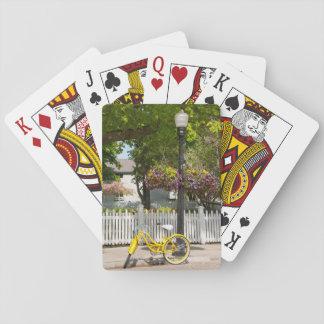 USA, Michigan, Mackinac Island. Yellow Bike Playing Cards