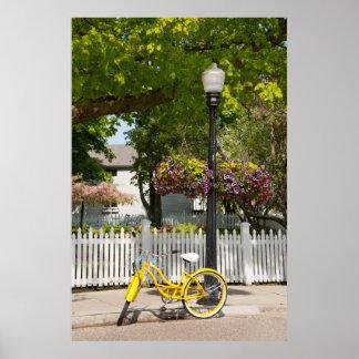 USA, Michigan, Mackinac Island. Yellow Bike Poster