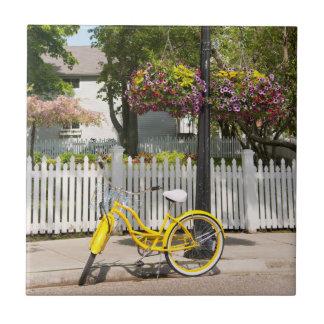 USA, Michigan, Mackinac Island. Yellow Bike Small Square Tile
