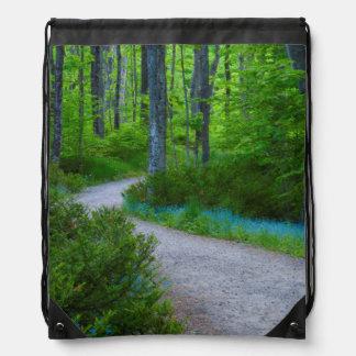 USA, Michigan. Path Thru The Woods Drawstring Bag