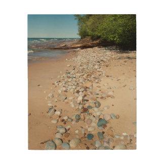 USA, Michigan. Pebbles Along 12 Mile Beach Wood Canvases