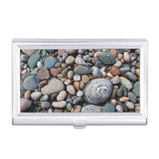 USA, Michigan. Polished Pebbles On The Shore Business Card Case