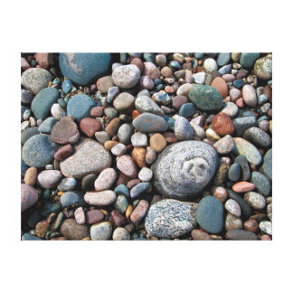 USA, Michigan. Polished Pebbles On The Shore Canvas Print