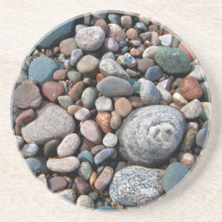 USA, Michigan. Polished Pebbles On The Shore Coaster