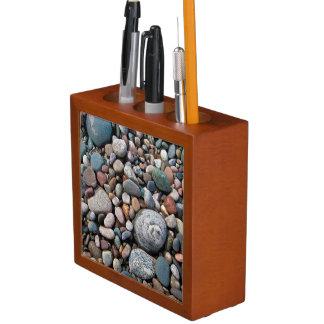USA, Michigan. Polished Pebbles On The Shore Desk Organiser