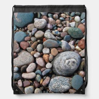USA, Michigan. Polished Pebbles On The Shore Drawstring Bag
