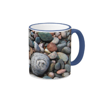 USA, Michigan. Polished Pebbles On The Shore Mugs