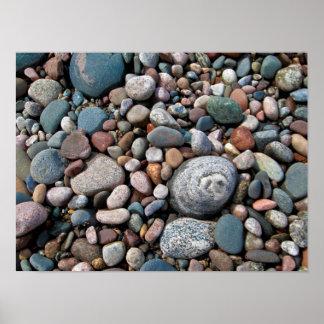 USA, Michigan. Polished Pebbles On The Shore Poster