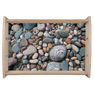 USA, Michigan. Polished Pebbles On The Shore Serving Tray