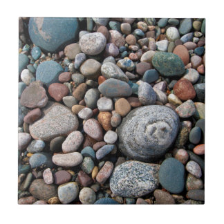 USA, Michigan. Polished Pebbles On The Shore Small Square Tile