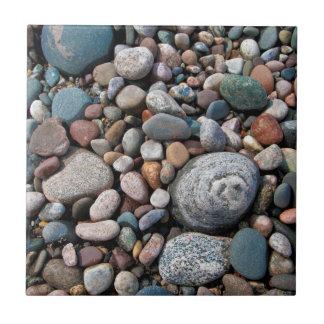 USA, Michigan. Polished Pebbles On The Shore Tile