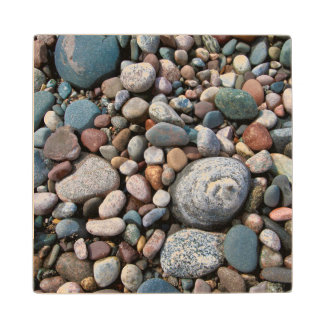 USA, Michigan. Polished Pebbles On The Shore Wood Coaster
