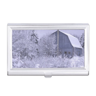 USA, Michigan, Rochester Hills. Snowy blue Business Card Holder