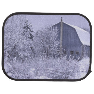 USA, Michigan, Rochester Hills. Snowy blue Car Mat