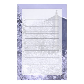 USA, Michigan, Rochester Hills. Snowy blue Personalized Stationery