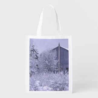 USA, Michigan, Rochester Hills. Snowy blue Reusable Grocery Bag