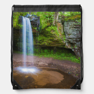 USA, Michigan. Scott's Falls In Upper Michigan Drawstring Bag