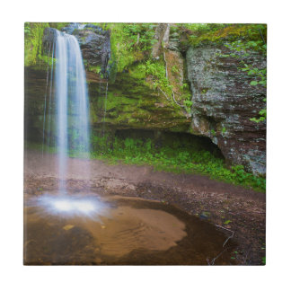 USA, Michigan. Scott's Falls In Upper Michigan Small Square Tile