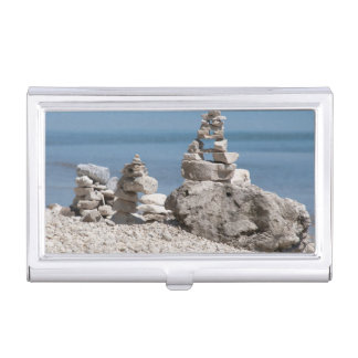 USA, Michigan. Stone Towers On The Beach Business Card Holder