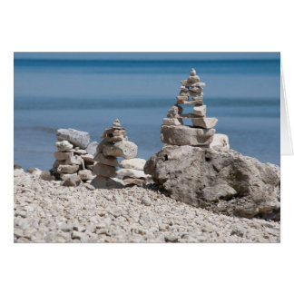 USA, Michigan. Stone Towers On The Beach Card