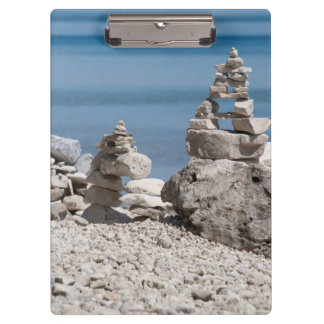 USA, Michigan. Stone Towers On The Beach Clipboard