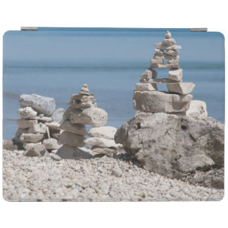 USA, Michigan. Stone Towers On The Beach iPad Cover