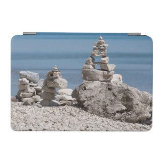 USA, Michigan. Stone Towers On The Beach iPad Mini Cover