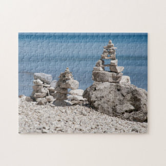 USA, Michigan. Stone Towers On The Beach Jigsaw Puzzle