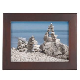 USA, Michigan. Stone Towers On The Beach Keepsake Box