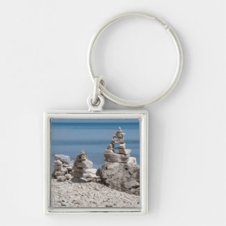 USA, Michigan. Stone Towers On The Beach Key Ring