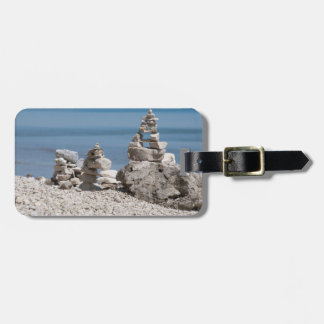 USA, Michigan. Stone Towers On The Beach Luggage Tag