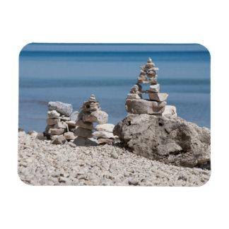 USA, Michigan. Stone Towers On The Beach Magnet