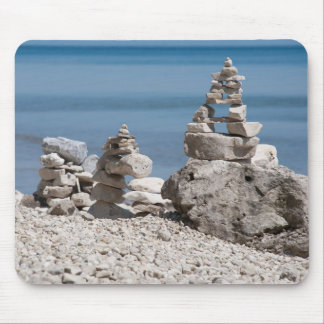 USA, Michigan. Stone Towers On The Beach Mouse Mat