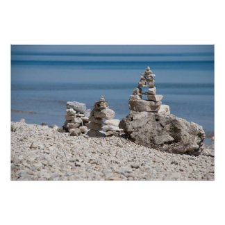 USA, Michigan. Stone Towers On The Beach Poster
