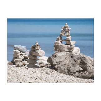USA, Michigan. Stone Towers On The Beach Stretched Canvas Print