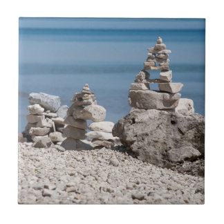 USA, Michigan. Stone Towers On The Beach Tile