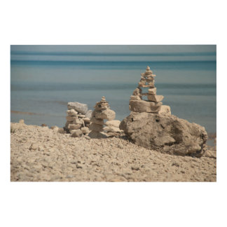 USA, Michigan. Stone Towers On The Beach Wood Print