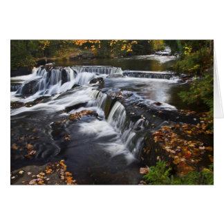 USA, Michigan, Upper Peninsula. Bond Falls and Greeting Card
