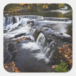 USA, Michigan, Upper Peninsula. Bond Falls and Square Sticker